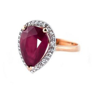 14K. SOLID GOLD RING WITH NATURAL DIAMONDS & RUBY